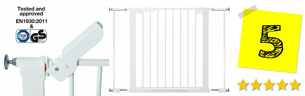 Barrera de seguridad metálica para puertas, color blanco