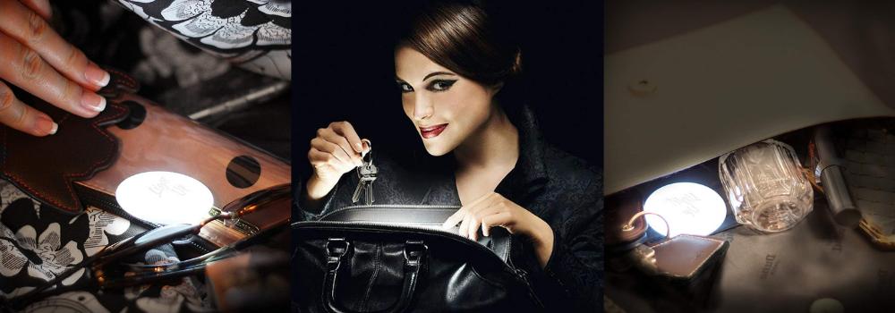 bolsos reciclados, carteras con luz interior, bolso con luz led, bolso mujer con luz interior