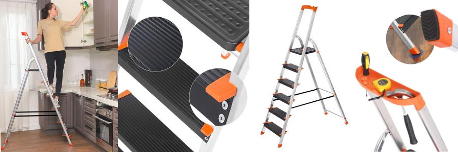 Escalera de tijera en Aluminio Portátil SONGMICS, escalera portátil, escaleras de aluminio de segunda mano, escaleras de aluminio Amazon